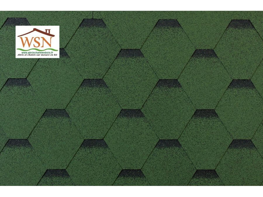 126m2 de tuiles vertes/noires en feutre bitumé (42 paquets de 3m²)