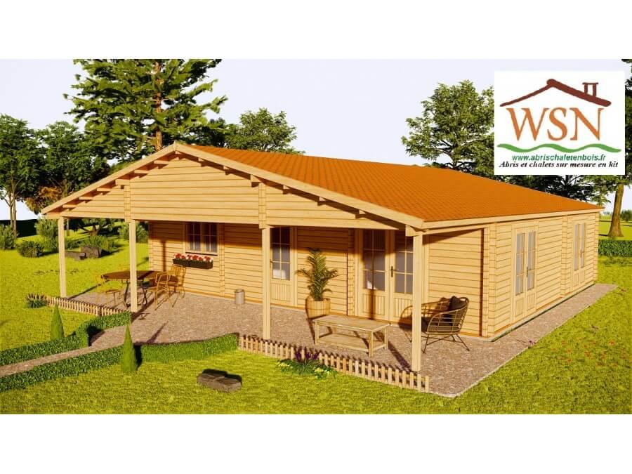 Chalet en bois Finistère 90m2 WS765-L par WSN