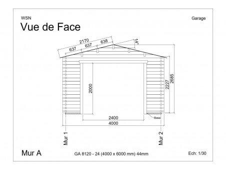 Garage 24m2 sans porte 4000x6000-passage 2400 | WSN