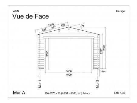 Garage 24m2 sans porte 4000x6000-passage 3000 | WSN