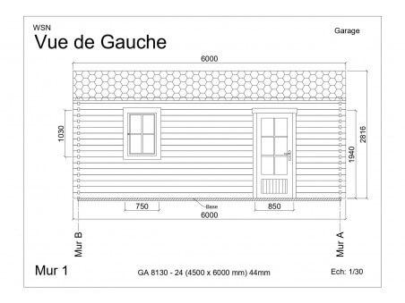Garage 27m2 sans porte 4500x6000-passage 2400   WSN