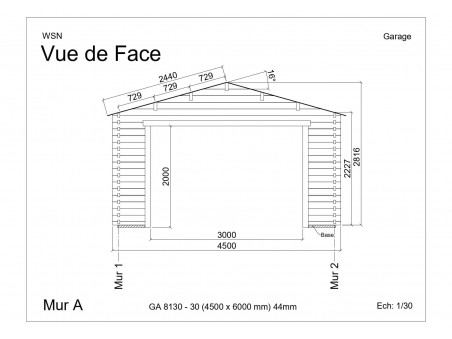 Garage 27m2 sans porte 4500x6000-passage 3000 | WSN