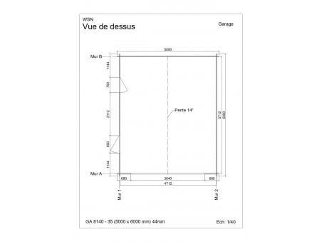 Garage 30m2 sans porte 5000x6000-passage 3500 | WSN