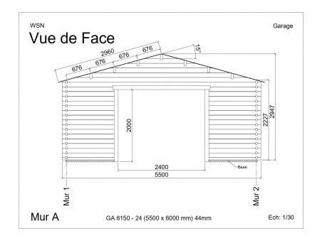 Garage 33m2 sans porte 5500x6000-passage 2400 | WSN