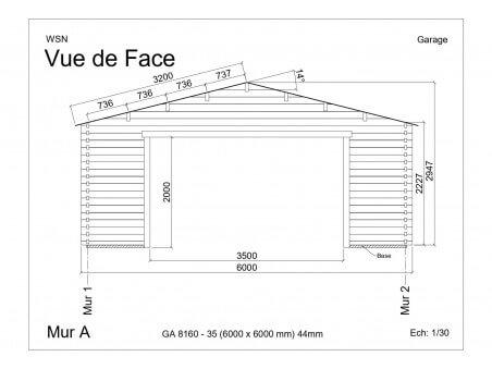 Garage 36m2 sans porte 6000x6000-passage 3500 | WSN
