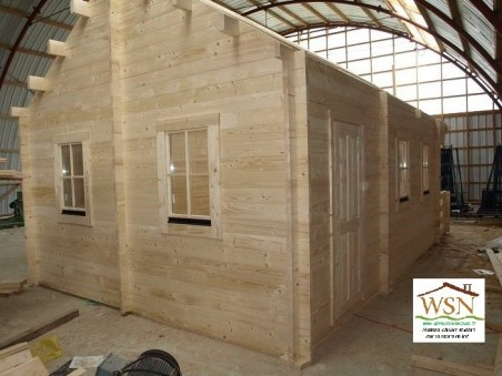 Bungalow en bois  Pyrénées 34.5 + mézzanine Dim. (4600X6000+1500-44mm )