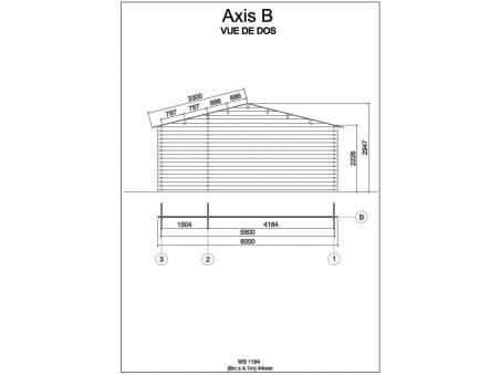 Bungalow en bois  MOSELLE 24,6m2  Dim. (6000X4100-44mm) 1 pièce