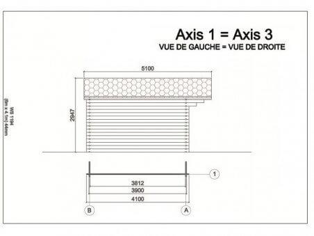 Bungalow en bois  MOSELLE 24,6m² Dim. (6000X4100-44mm) 2 pièces