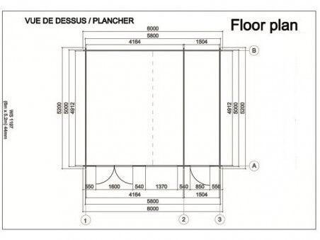 Bungalow en bois  MOSELLE 31,2m² Dim. (6000X5200-44mm) 2 pièces
