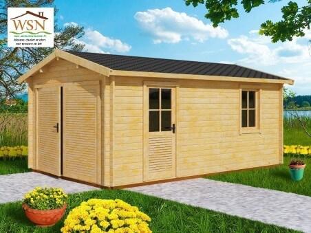 Garage en bois 19,72m² Dim. (3400X5800-44mm)