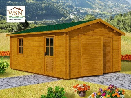 Garage en bois 25,52m²  Dim. (4400X5800-44mm)
