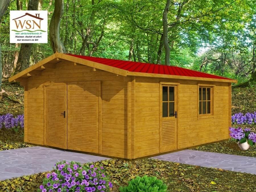 Garage en bois 25,52m² (4400X5800-70mm)