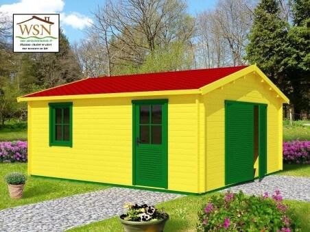 Garage en bois 24m² (4000-6000-70mm) WS689