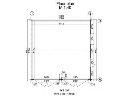 Garage en Bois 36m² (6000X6000-44mm) WS699
