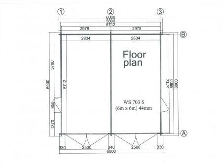 Garage en bois 36m² avec cloison WS703S | WSN