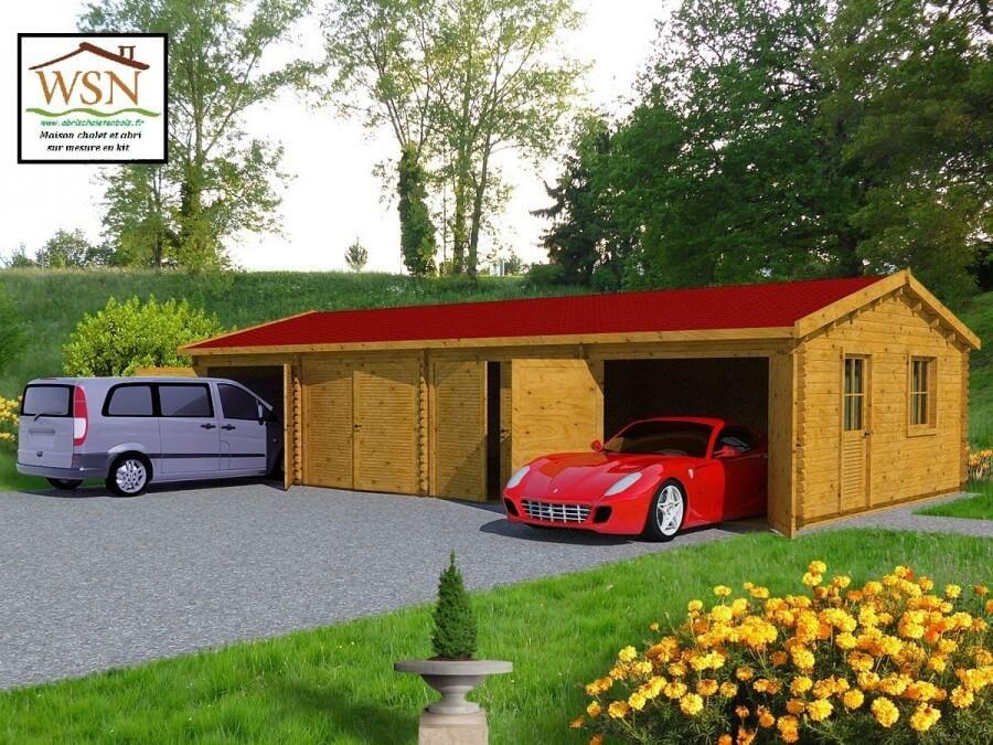 Garage en bois 4 places 70m² WS 710 | WSN