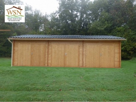 Garage en Bois 54m² 3 places (6000X9000-70mm) WS714