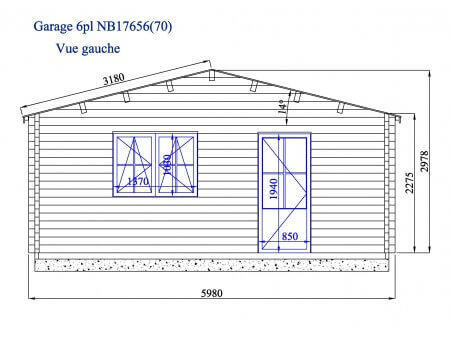 Garage en bois 107m² 6 places WS 716 | WSN
