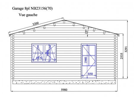 Garage en bois 140m² 8places WS717 | WSN