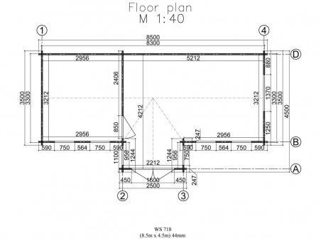 Chalet en bois  INDRE 38m² Dim. (8500x4500-44mm)