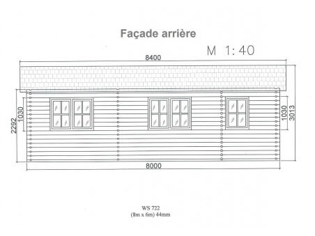 Chalet en bois  DORDOGNE 45m² Dim. (8000x6000-44mm)