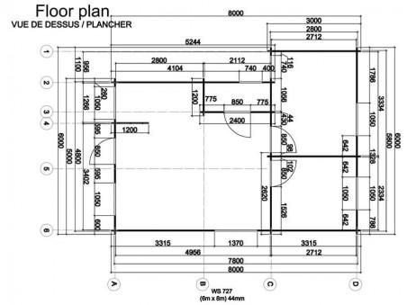 Chalet en bois  GARD 48m2 Dim. (6000x8000-44mm)