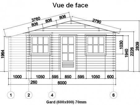 Chalet en bois  GARD 48m² Dim. (6000x8000-70mm)