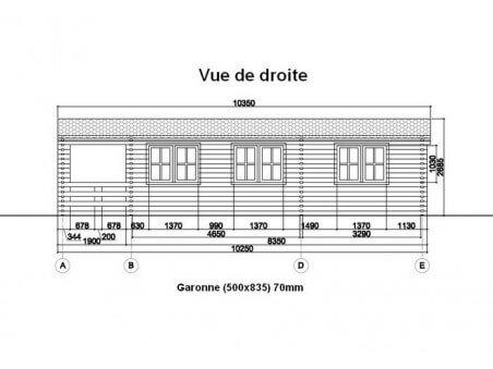 Chalet en bois  GARONNE 41m²  Dim. (5000x8350-70mm)