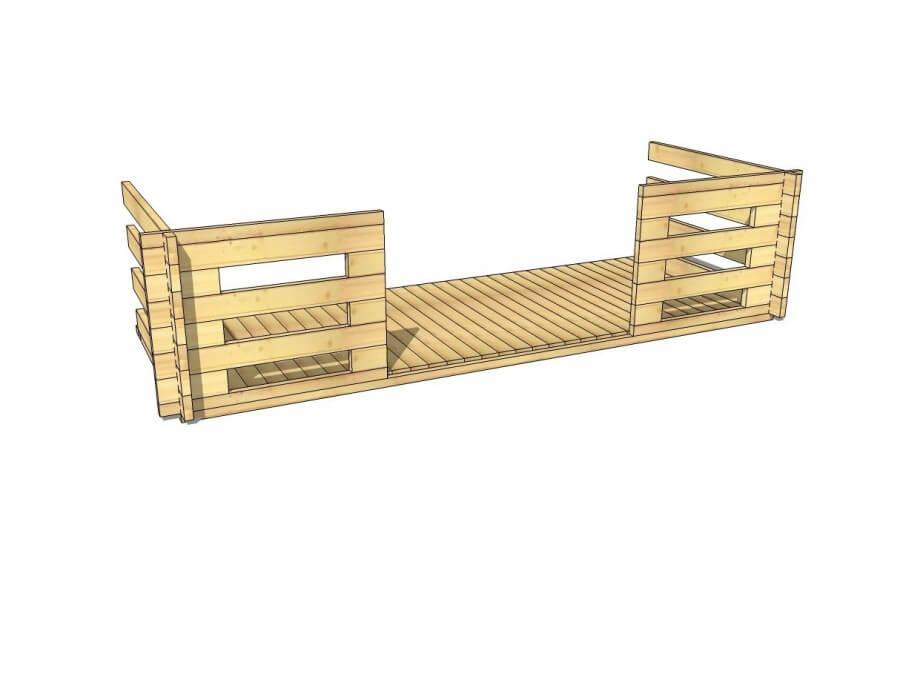 Terrasse en bois 6m2 (70mm-4000x1500)