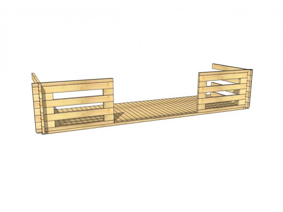 Terrasse en bois 7,5m2 (70mm-5000x1500)