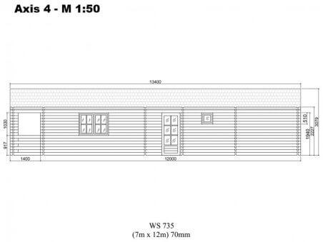 Chalet en bois  GIRONDE 94m² Dim. (7000x12000-70mm)