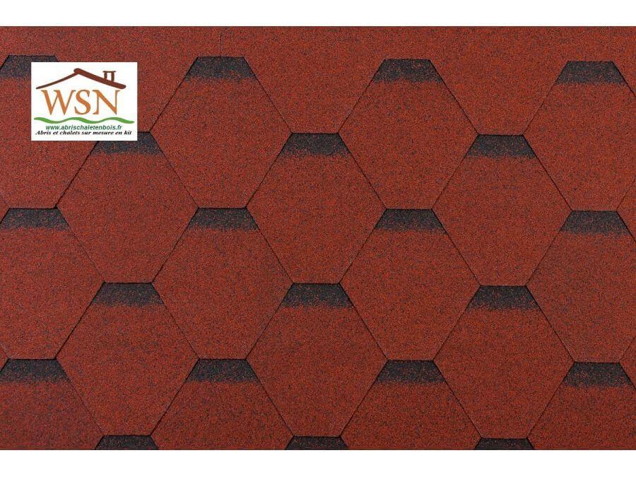 60m2 de tuiles rouges/noires en feutre bitumé (20 paquets de 3m²)