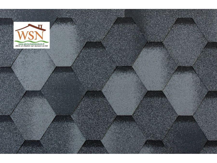 81m2 de tuiles grises/noires en feutre bitumé (27 paquets de 3m²)