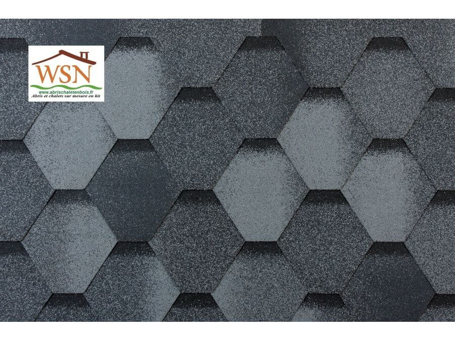 177m2 de tuiles grises/noires en feutre bitumé (59 paquets de 3m²)