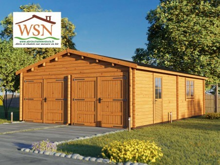 Garage en Bois 54m² (6000X9000-44mm) WS708