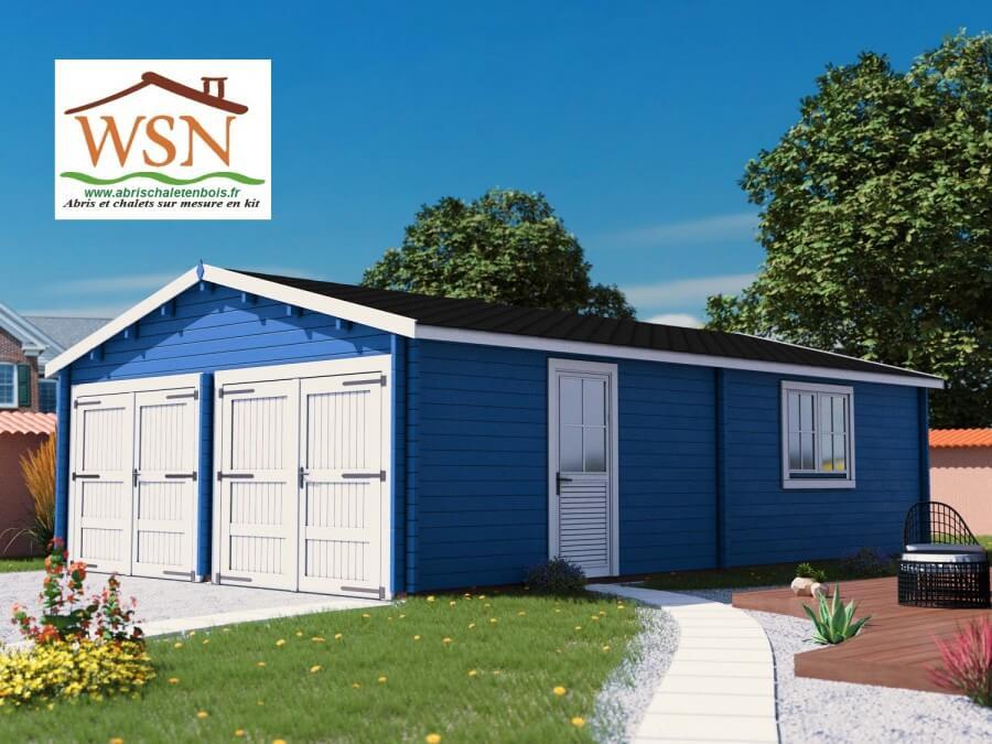 Garage en Bois 54m² (6000X9000-70mm) WS709