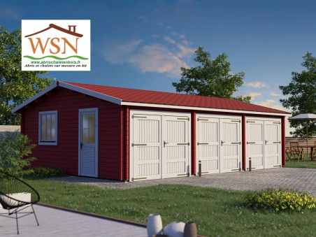 Garage en bois 54m² 3 portes WS 712 | WSN