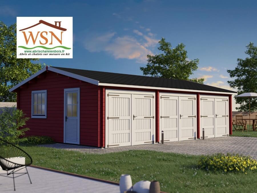 Garage en bois 54m² 3 places WS 714 | WSN